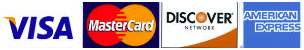 Visa, MasterCard, Discover and American Express credit cards accepted.
